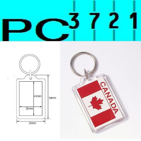 Pack of 10 Blank Rectangular Clear Plastic Keyrings 43 x 28 mm Insert 09008